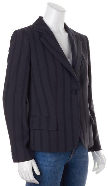 ARMANI COLLEZIONI Charcoal Gray Tonal Striped Wool One Button Blazer
