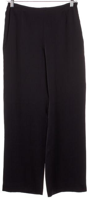 ARMANI COLLEZIONI Black Silk High Waisted Trouser Dress Pants