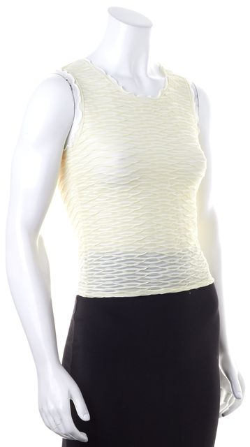 ARMANI COLLEZIONI Ivory Sheer Textured Sleeveless Knit Top