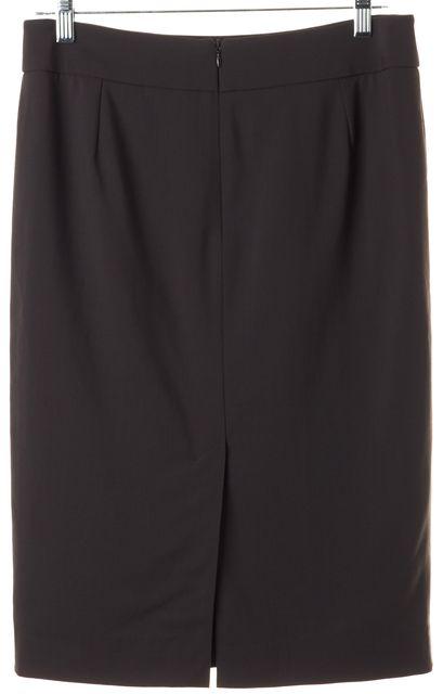 ARMANI COLLEZIONI Brown Wool Back Slit Pencil Skirt