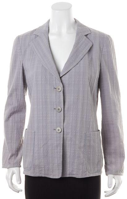 ARMANI COLLEZIONI Light Gray Textured Three Button Blazer