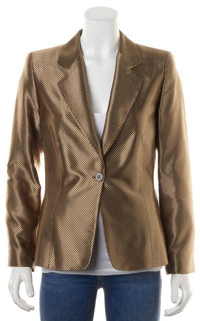 ARMANI COLLEZIONI Metallic Gold Brown Check Woven One Button Blazer