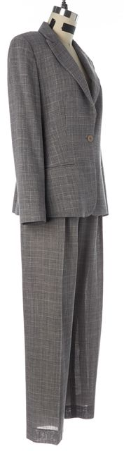 ARMANI COLLEZIONI Gray Navy Houndstooth Check Pant Suit Suit Set