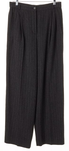 ARMANI COLLEZIONI Gray White Felted Pinstriped High-Rise Trousers Pants