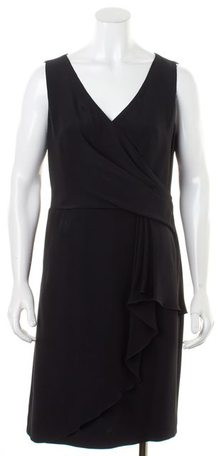 ARMANI COLLEZIONI Black Sleeveless Ruffle Pleated Faux Wrap Dress