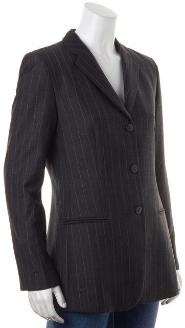 ARMANI COLLEZIONI Dark Gray Pinstriped Wool Three Button Blazer