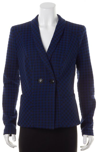 ARMANI COLLEZIONI Deep Blue Black Houndstooth Pattern Two Button Blazer