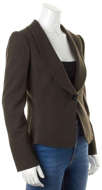 ARMANI COLLEZIONI Dark Green Wool One Button Blazer