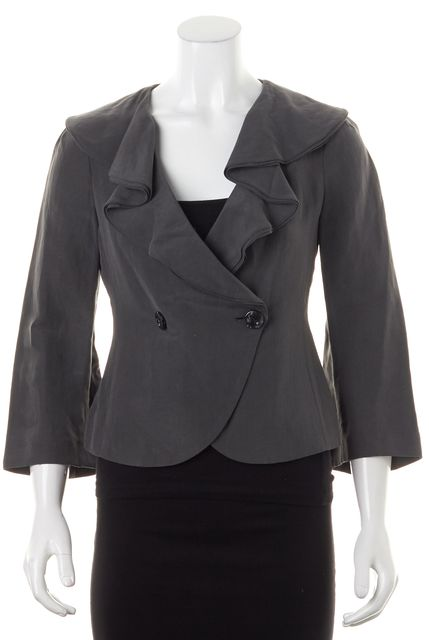 ARMANI COLLEZIONI Gray Linen Ruffle Two Button Crop Blazer