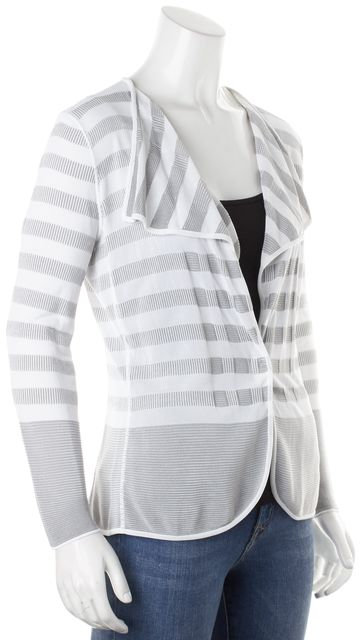ARMANI COLLEZIONI White Gray Striped Thin Knit Snap Button Cardigan
