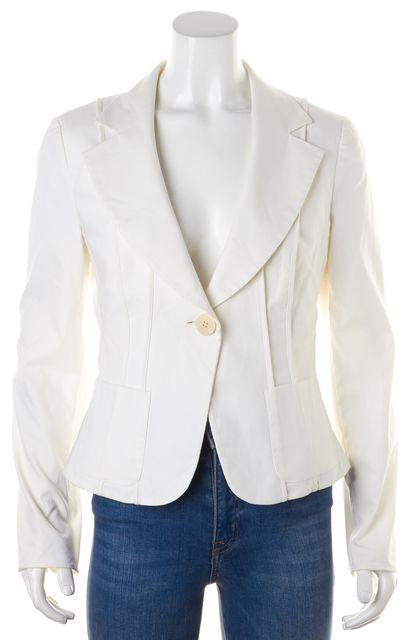 ARMANI COLLEZIONI White Cotton One Button Classic Blazer