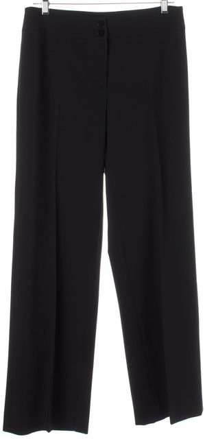 ARMANI COLLEZIONI Black Wool Pleated Trouser Dress Pants