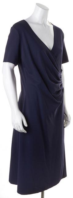 ARMANI COLLEZIONI Navy Blue Draped Short Sleeve Sheath Dress