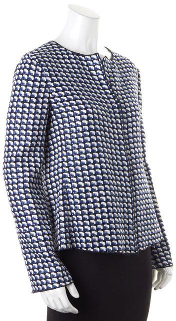 ARMANI COLLEZIONI Blue Black White Multi-Color Tweed Jacket