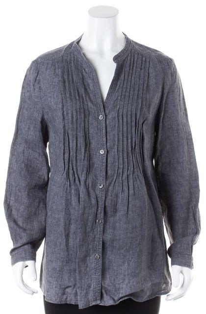 ARMANI COLLEZIONI Gray Linen Long Sleeve Button Front Blouse