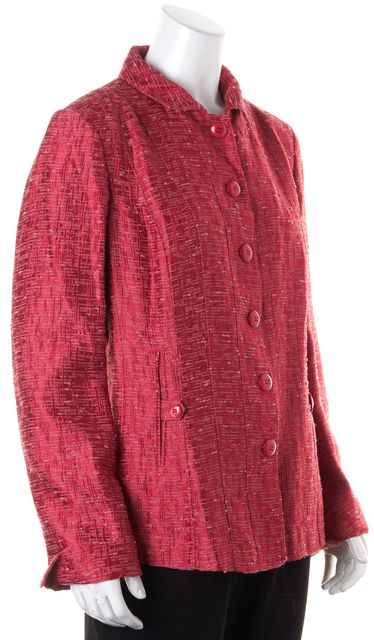 ARMANI COLLEZIONI Pink Boucle Button Up Basic Jacket