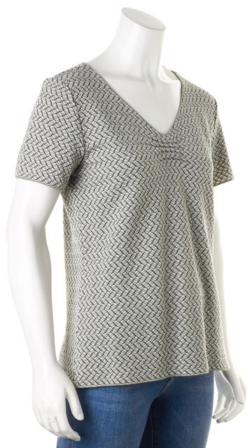ARMANI COLLEZIONI Gray Textured Geometric Short Sleeve Top