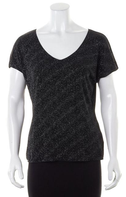 ARMANI COLLEZIONI Black Glitter Embellished Cap Sleeve Top