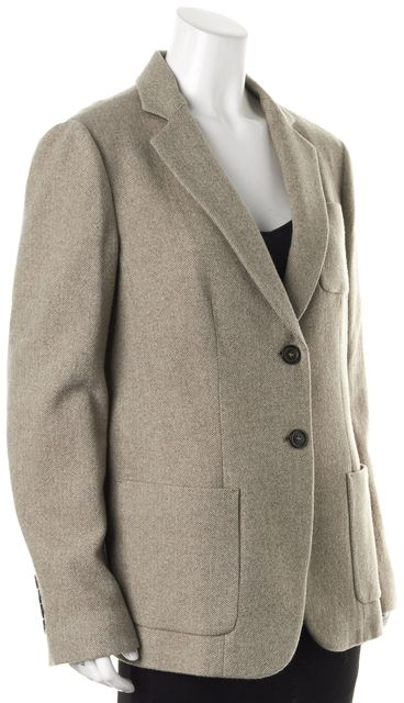 ARMANI COLLEZIONI Beige Herringbone Wool Two Button Blazer