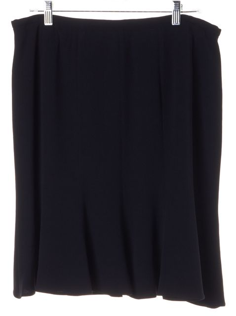 ARMANI COLLEZIONI Black Silk Above Knee Flounce A-Line Skirt