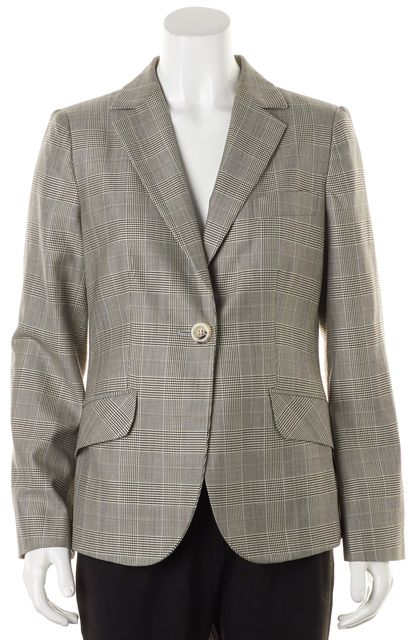ARMANI COLLEZIONI Gray Black Plaid Wool Blazer Jacket