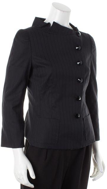 ARMANI COLLEZIONI Black Striped Button Up Basic Jacket