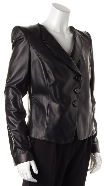 ARMANI COLLEZIONI Black Leather Basic Button Up Jacket