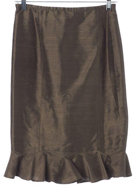 ARMANI COLLEZIONI Olive Green Silk Flutter Straight Skirt