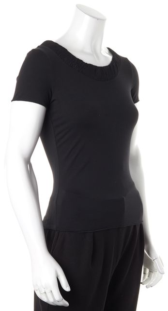 ARMANI COLLEZIONI Black Shirred Neckline Short Sleeve Tee T-Shirt
