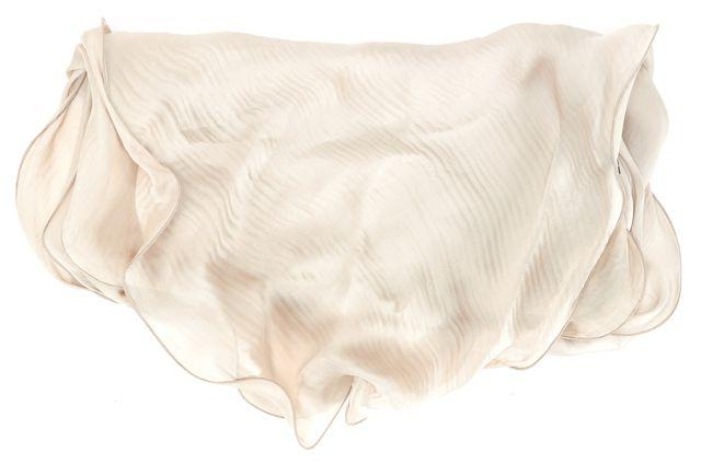 ARMANI COLLEZIONI Beige Silk Ruffle Edge Scarf
