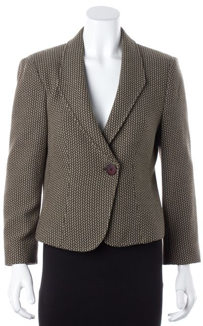 ARMANI COLLEZIONI Brown Beige Virgin Wool Single Button Blazer