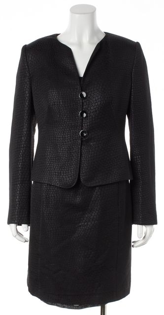 ARMANI COLLEZIONI Black Snake Print Collarless Dress Suit