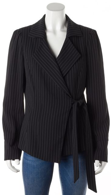 ARMANI COLLEZIONI Black White Striped Button Wrap Blazer