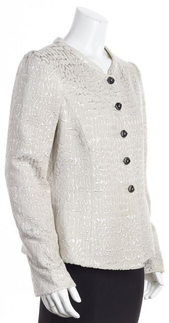 ARMANI COLLEZIONI Beige-Pink with Silver Stitching Animal Print Blazer