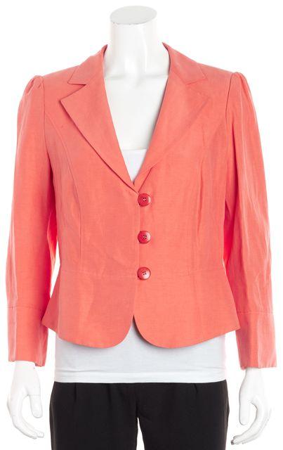 ARMANI COLLEZIONI Coral Pink Linen Career Blazer