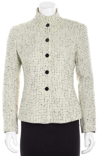 ARMANI COLLEZIONI Ivory Tweed Wool Basic Jacket