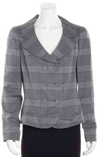 ARMANI COLLEZIONI Multi-Toned Gray Houndstooth Scoop Neck Blazer