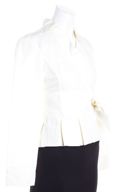 ARMANI COLLEZIONI Ivory Pleated Trim Basic Jacket