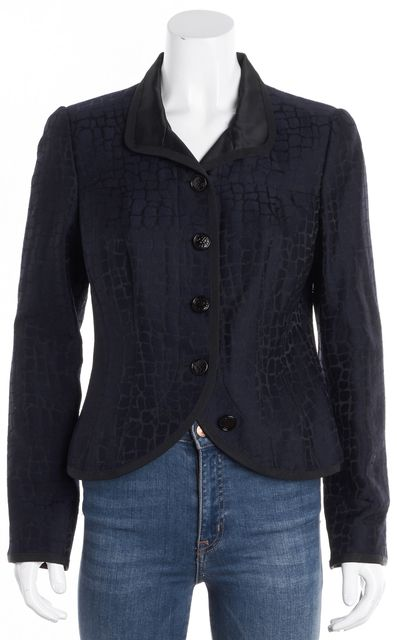 ARMANI COLLEZIONI Black Blue Textured Wool band Collar Bolero Jacket