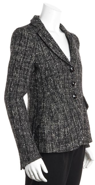 ARMANI COLLEZIONI Black Metallic Tweed Wool Button Blazer