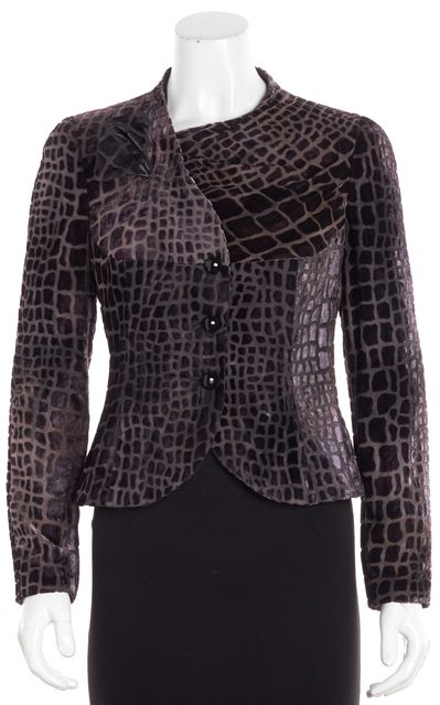 ARMANI COLLEZIONI Purple Abstract Crocodile Print Blazer