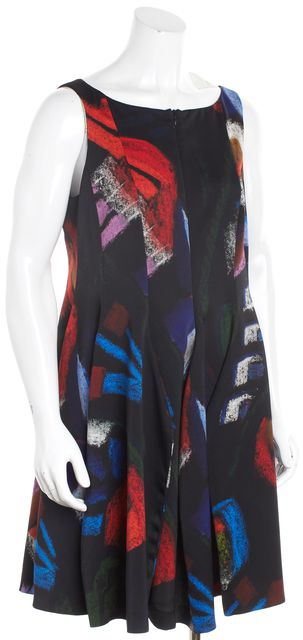 ARMANI COLLEZIONI Black Multi-Color Abstract Godet Bubble Dress