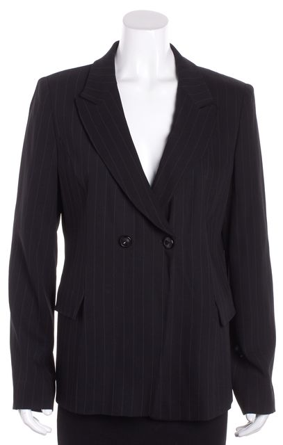 ARMANI COLLEZIONI Black Pin Striped One Button Wool Blazer