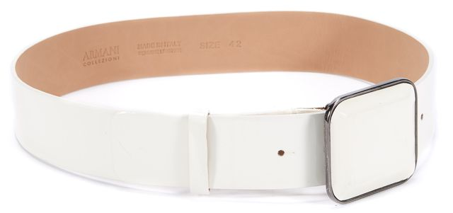 ARMANI COLLEZIONI Ivory Square Buckle Patent Leather Belt