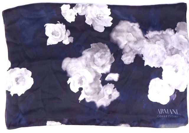 ARMANI COLLEZIONI Gray/Navy Blue Floral Silk Print Scarf