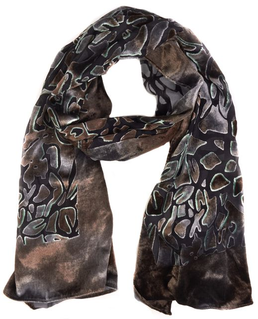 ARMANI COLLEZIONI Brown Abstract Sheer Velvet Detailed Scarf