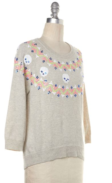 AUTUMN CASHMERE Gray Skull Sequin Embellished Cashmere Knit Top