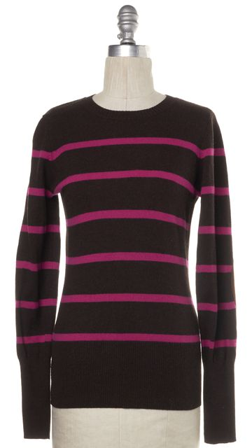 AUTUMN CASHMERE Brown Pink Striped Cashmere Knit Top
