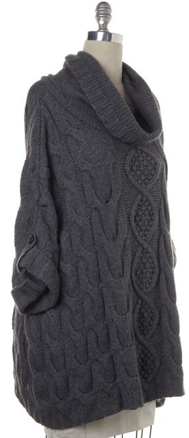 AUTUMN CASHMERE Gray Chunky Knit Batwing Short Sleeve Turtleneck Sweater