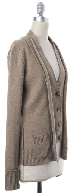 AUTUMN CASHMERE Brown Beige Casual Cashmere Classic Button Front Cardigan